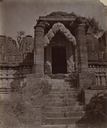 Close view of the entrance to a ruined Jain temple at Eklingji